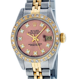 Rolex Ladies Datejust Salmon Diamond Watch